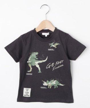 【コットン100%】【90cm~150cm】迷彩恐竜プリントTシャツ
