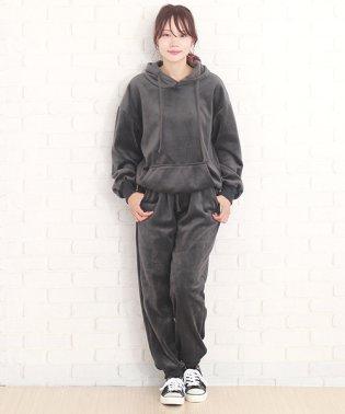 ベロアセットアップ 韓国 ファッション レディース あったか やわらか 光沢 おしゃれ【A/W】【vl-5354】