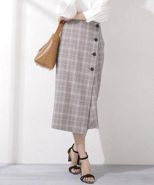 グレンチェックラップ釦スカート
