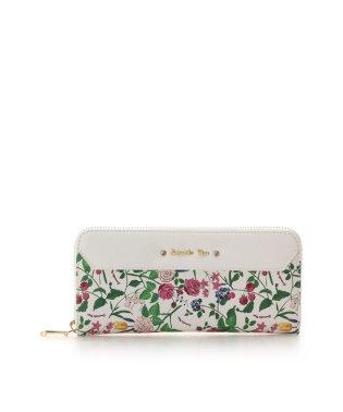花柄ビジューリボン付きラウンド長財布