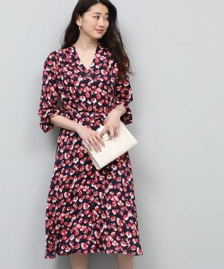 【2WAY】細ベルト付きフラワープリントタックワンピース