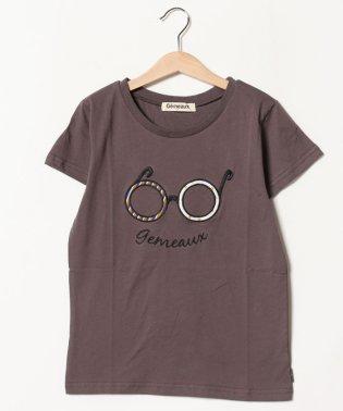 メガネアップリケ半袖Tシャツ(150cm)