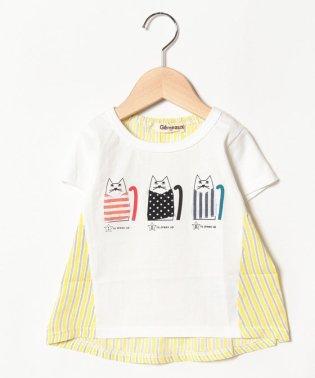 ネコアップリケ半袖Tシャツ