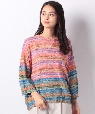 カラーミックスヤーン7分袖ニット・セーター