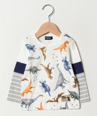 恐竜柄袖切り替えTシャツ