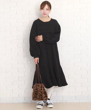 ロング丈 スウェットワンピース 韓国 ファッション レディース ゆったり ロング ふんわり かわいい【A/W】【vl-5352】