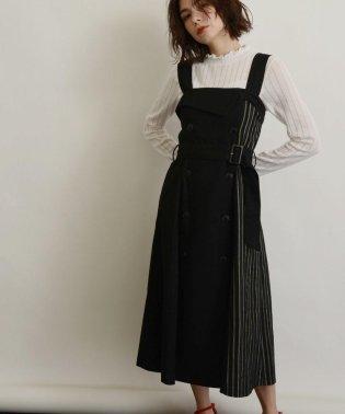 [洗える]サイドチェックトレンチジャンパースカート