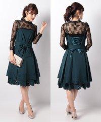 レーストップス付き裾パンチングデザインドレス