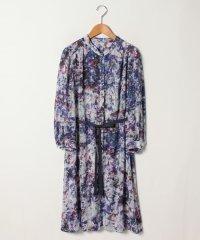 【大きいサイズ】サテンストライプ花柄プリントドレス