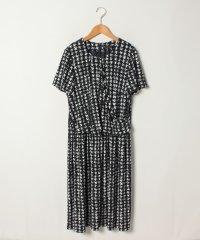 【大きいサイズ】天竺千鳥柄プリントセットアップ風ドレス
