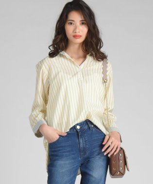 【小嶋陽菜さん着用】異素材ストライプシャツ