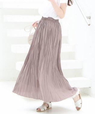 【新色追加・WEB限定カラー⇒グリーン】クリンクルプリーツロングスカート