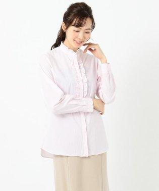 【リクルート対応/洗える】ストレッチシャーティング フリルシャツ