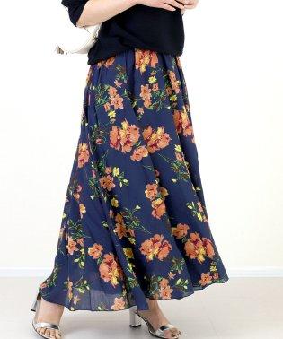 プリントボイル花柄ロングスカート