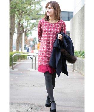 モヘアチェック裾シフォンワンピース