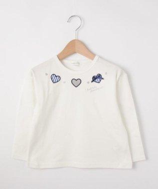 【90cm~150cm】ハートモチーフ長袖Tシャツ