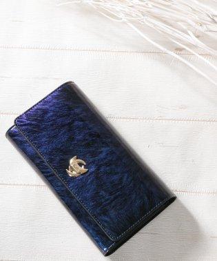 財布 レディース 長財布 エナメル 大容量 カードケース付き フラップロングウォレット
