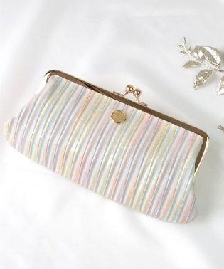 財布 レディース 長財布 がま口財布 本革 イタリアンレザー グラデーション ストライプ 日本製
