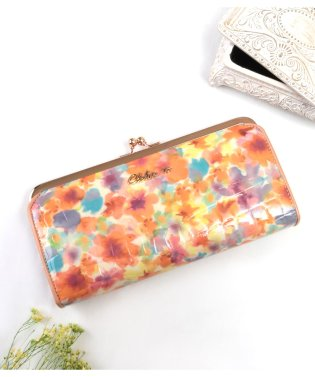 財布 レディース 長財布 がま口 本革 レザー エナメル クロコ型押し 花柄 ギャルソンウォレット