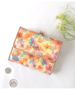がま口 財布 レディース がま口財布 三つ折り 本革 レザー エナメル クロコ型押し 花柄 ミドルウォレット
