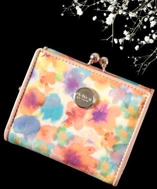 ミニ財布 レディース がま口 三つ折り財布 極小財布 本革 レザー エナメル クロコ型押し 花柄 ミニウォレット