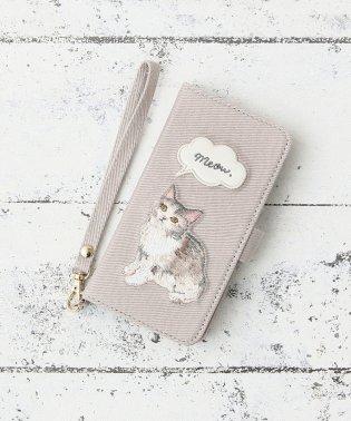 キャット刺繍ブック型iPhone8/7/6/6sケース
