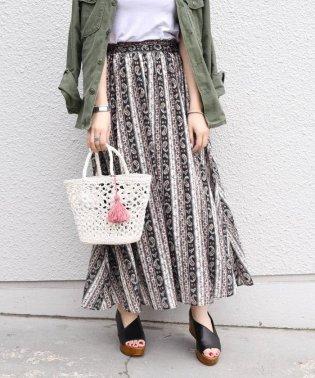 《一部追加予約》Khaju:ペイズリーストライプスカート