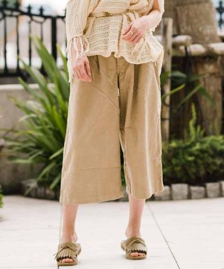 WIDE LEG PLEATED CROP 14W CORD TRAVERTI