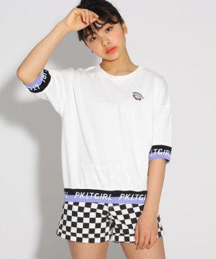 袖裾ロゴ5分袖プルオーバー