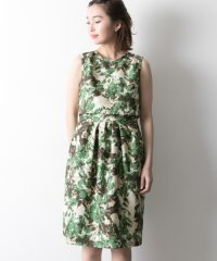 【UR】花柄プリントジャガードドレス
