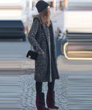 フード付き ロング ニット カーディガン 韓国 ファッション レディース かわいい おしゃれ あったかゆったり【A/W】【vl-5353】