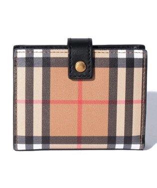 バーバリーチェック/2つ折りミニ財布【BLACK】