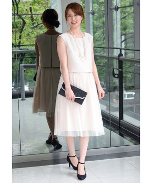 ジャガード×チュールスカート付きドレス