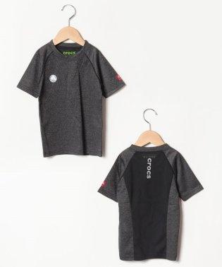 CROCSロゴジャガード切り替え半袖Tシャツ
