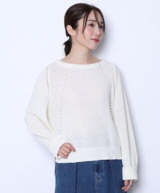 ★【アーガ Aga】 ロールアップスリーブ ホールライン あぜ編みニット