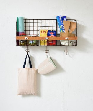 Metal wall shelf with hook