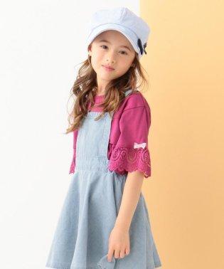 【KIDS】袖レース フリル 20TC天竺 Tシャツ