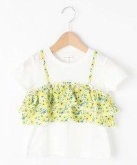 【90cm~150cm】花柄ビスチェ風レイヤードTシャツ