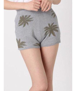 palm patternニットショートパンツ