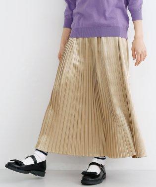 光沢プリーツロングスカート