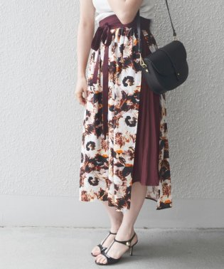 【SHIPS for women】PS:FLOWER PT LAYERED SK
