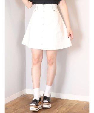 【C】デニムフロントボタンミニフレアスカート