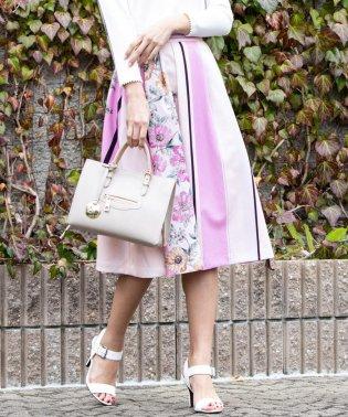 【大きいサイズ】スカーフプリントタックフレアスカート