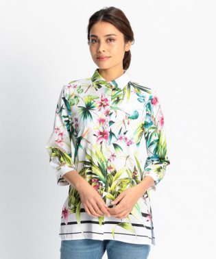 トロピカルプリント七分袖シャツ
