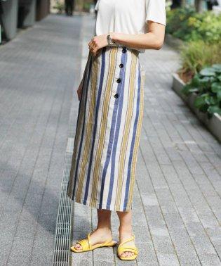FLANDERS LINEN ストライプスカート◆