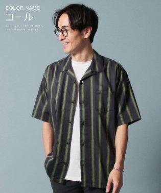 (スリック) SLICK 半袖ストライプオープンカラーシャツ
