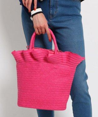【WEB限定アイテム】フリルヘム巾着付きカゴバッグ