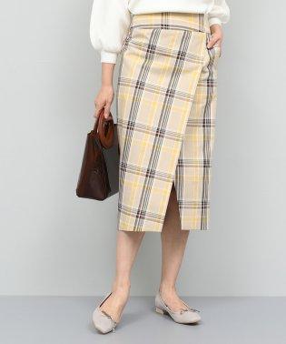 【洗える】チェックハイウエストタイトスカート