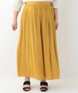 【大きいサイズ】スカート見え!ギャザーワイドパンツ