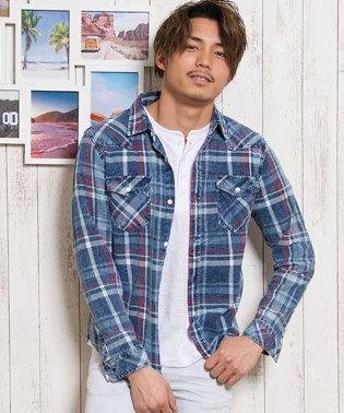 CavariA【キャバリア】インディゴ染めチェック柄長袖シャツ